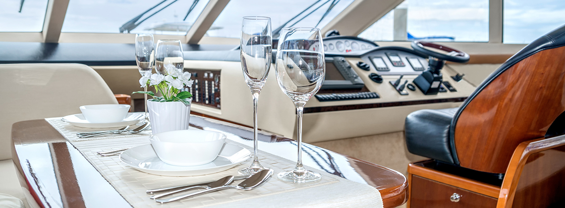Gourmet dinner on yacht