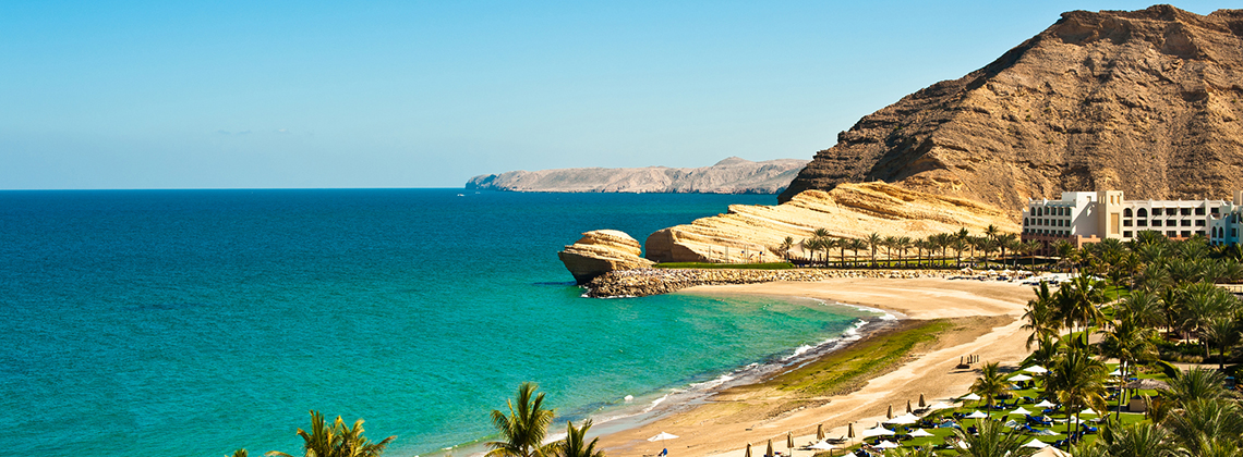 Oman with green oases and long coastlines
